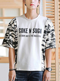 White and Camouflage Loose Letter Linking Sleeve Plus Size Men Shirt for Casual