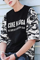 Black and Camouflage Loose Letter Linking Sleeve Plus Size Men Shirt for Casual