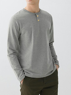 Light Gray Loose Round Neck Buttons Long Sleeve Plus Size Men Shirt for Casual