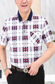 Red and Navy Blue White Loose Lapel Contrast Grid Men Shirt for Casual Party Office