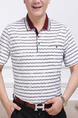 Wine Red and White Loose Lapel Contrast Stripe Men Shirt for Casual Party Office