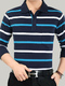 White and Blue Loose Lapel Contrast Stripe Long Sleeve Plus Size Men Shirt for Casual Party Office