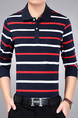 White and Red Blue Loose Lapel Contrast Stripe Long Sleeve Plus Size Men Shirt for Casual Party Office