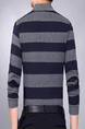Dark Gray and Blue Loose Lapel Contrast Stripe Long Sleeve Plus Size Men Shirt for Casual Party Office