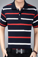 Black White and Red Loose Lapel Contrast Stripe  Men Shirt for Casual Party Office