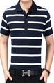 Navy Blue and White Loose Lapel Contrast Stripe  Men Shirt for Casual Party Office