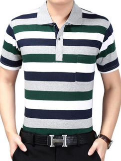 Light Gray Blue Green and White Loose Lapel Contrast Stripe  Men Shirt for Casual Party Office