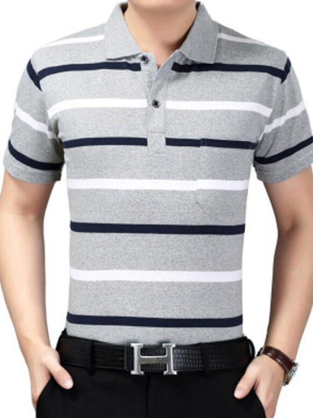 Light Gray Black and White Loose Lapel Contrast Stripe  Men Shirt for Casual Party Office