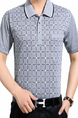 Light Gray Loose Lapel Grid Men Shirt for Casual Office