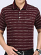 Wine Red Loose Lapel Stripe Men Shirt for Casual Office