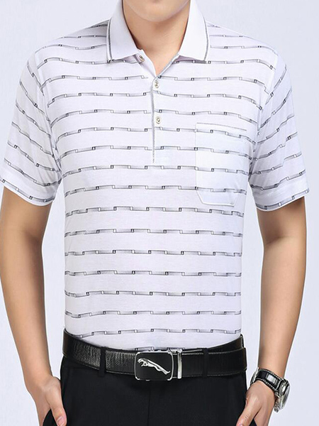 White Loose Lapel Stripe Men Shirt for Casual Office