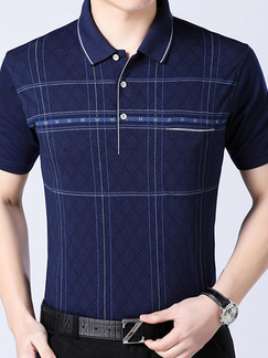 Navy Blue Loose Lapel Stripe Men Shirt for Casual Office