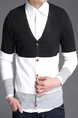 Black White and Light Gray Slim Contrast Single-Breasted Long Sleeve Men Cardigan for Casual