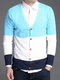 Blue White and Sky Blue Slim Contrast Single-Breasted Long Sleeve Men Cardigan for Casual