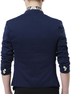 Navy Blue Slim Stand Collar Cufflinks Plus Size Long Sleeve Men Suit for Office Evening Groomsmen Prom