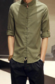 Army Green Loose Stand Collar Chinese Buttons Long Sleeve Plus Size Men Shirt for Casual