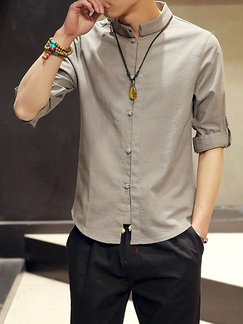 Gray Loose Stand Collar Chinese Buttons Long Sleeve Plus Size Men Shirt for Casual