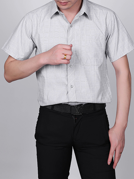 Grey and White Plus Size Loose Lapel Grid Pocket Single-breasted Collar Button-Down Men Shirt for Casual Party Office