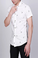 White Slim Lapel Printed Letter Single-breasted Asymmetrical Hem Collar Button-Down Men Shirt for Casual Party Office
