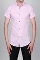 Pink Slim Lapel Printed Letter Single-breasted Asymmetrical Hem Collar Button-Down Men Shirt for Casual Party Office
