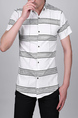 White and Black Lapel Slim Stripe Cardigan Collar Button-Down Men Shirt for Casual Party Office