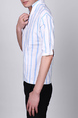 White and Blue Stand Collar V Neck Loose Stripe Plus Size Men Shirt for Casual Party Office