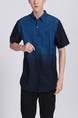 Blue Button Down Collared Chest Pocket Men Shirt for Casual Party Office