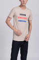 Cream Round Neck Tee Men Shirt for Casual Party
