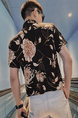 Black and Cream Collared Button Down Floral Men Shirt for Casual Party Beach