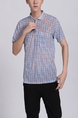 Blue Collared Chest Pocket Polo Men Shirt for Casual Party Office