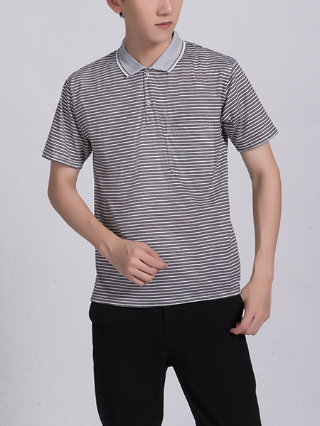 Black and White Polo Collared Chest Pocket Men Shirt for Casual Party Office