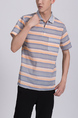Colorful Chest Pocket Polo Collared Striped Men Shirt for Casual Office Party