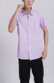 Pink Chest Pocket Button Down Collared Men Shirt for Casual Party Office