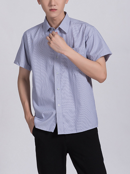 Blue Chest Pocket Button Down Collared Men Shirt for Casual Party Office