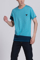 Blue Round Neck Tee Men Shirt for Casual