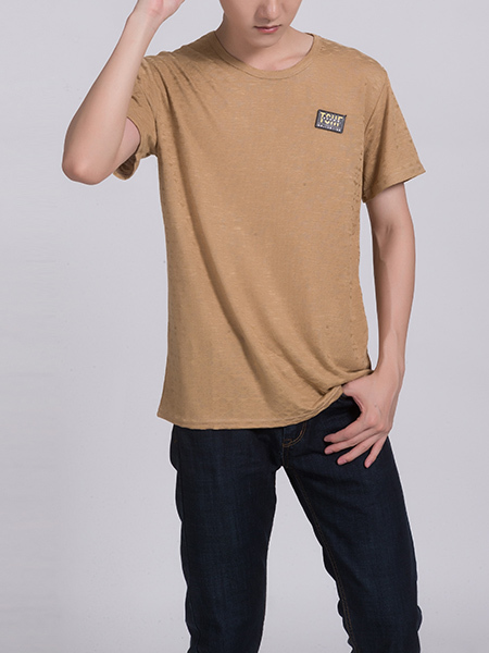Brown Round Neck Tee Men Shirt for Casual