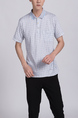 White Collar Chest Pocket Plus Size Men Shirt for Casual Party