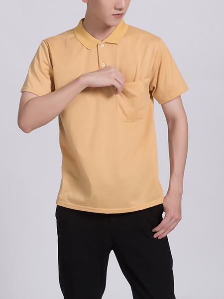 Yellow Collar Chest Pocket Plus Size Men Shirt for Casual Party