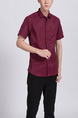Red Button Down Chest Pocket Collar Plus Size Men Shirt for Casual Party Office