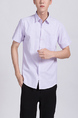 Purple Button Down Chest Pocket Collar Plus Size Men Shirt for Casual Party Office