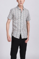 White Colorful Button Down Collar Plus Size Men Shirt for Casual Party Office