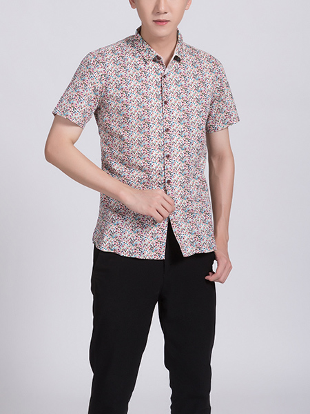 Colorful Button Down Collar Plus Size Men Shirt for Casual Party Office
