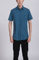 Blue Green Collar Chest Pocket Button Down Plus Size Men Shirt for Casual Party Office