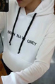 White Pull Over Pocket Long Sleeve Plus Size Men Hoodie for Casual