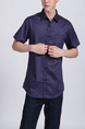 Purple Button Down Chest Pocket Collared Men Shirt for Casual Party Office Evening Nightclub