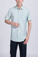 Aqua Collared Button Down Chest Pocket Men Shirt for Casual Party Office Evening Nightclub