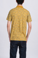 Yellow Collared Chest Pocket Printed Polo Men Shirt for Casual Party Office