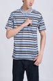 Colorful Striped Collared Chest Pocket Polo Men Shirt for Casual Party Office