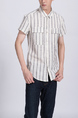 White and Gray Button Down Collared Chest Pocket Men Shirt for Casual Party Office