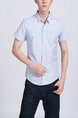 Blue Collared Button Down Plus Size Men Shirt for Casual Party Office